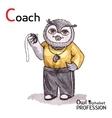 Alphabet professions owl letter c - coach vector
