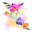 Greeting card with gentle freesia flowers vector