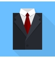 Flat business jacket and tie black color vector