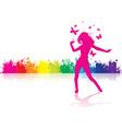 Dancing girl rainbow vector