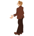 Retro hipster man standing in brown jacket vector