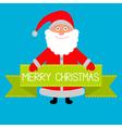 Santa claus and big green ribbon merry christmas c vector
