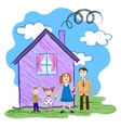 Kids sketch of happy family vector