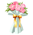 A bouquet of pink roses vector