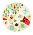 Map with places icons vector