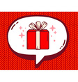 Speech bubble with icon of gift box on re vector