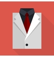 Flat business jacket and tie white color vector