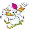 Cheerful snowman on skis vector