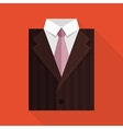 Flat business jacket and tie brown color vector
