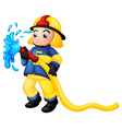 A fireman holding a yellow water hose vector
