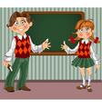 Schoolgirl and schoolboy with a blackboard vector
