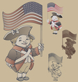 Smiley character in american independence war vector