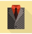 Flat business jacket and tie gray color vector