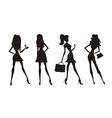 Fashion shopping girls silhouettes vector