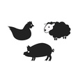 Silhouettes of hen vector