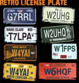 Retro licence plates vector