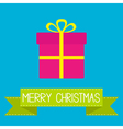 Gift box with ribbon and bow merry christmas card vector