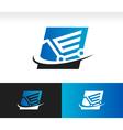 Swoosh shopping cart logo icon vector