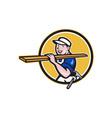 Carpenter worker carrying timber circle cartoon vector