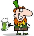 Leprechaun with beer cartoon vector