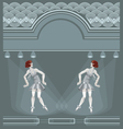 Two flapper girls on art deco background vector