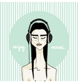Asian girl with headphones vector