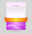 Wavy flyer design with orange ribbon vector
