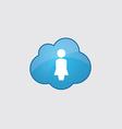 Blue cloud female profile icon vector