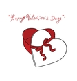 Valentine gift box and red ribbon vector