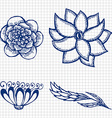 Floral doodling flowers set in tattoo style vector