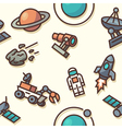 Seamless pattern with space icons vector