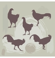 Hen and rooster silhouette on grunge background vector