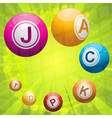 Lottery or bingo balls forming the word jackpot vector