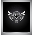 Metal shield emblem with wings vector