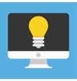 Computer display and light bulb icon vector