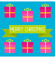 Six gift boxes with ribbons bows merry christmas vector