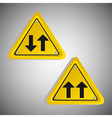 Arrows yellow triangle signs over gray background vector
