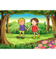 A girl and a boy at the forest vector