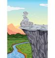 Stones on mountain edge vector