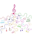 Multicolored musical notes and a treble clef vector