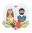 Card with romantic couple vector