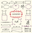 Doodle floral design elements vector