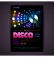 Disco poster neon background vector