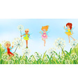 Fairies in the garden vector