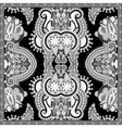 Black and white ornamental floral paisley bandanna vector