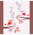 Cute birds singing seamless vector