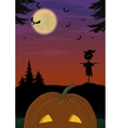 Halloween landscape with pumpkin vector