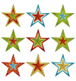 Nine color christmas star vector