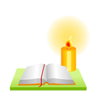 Icon book and candle vector
