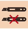 Cutter knife - packing sign vector